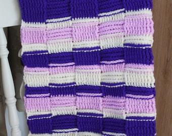 Purple Stripe Crochet Blanket