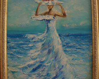 Oil  sea painting,Woman sea oil,original art,sea painting,romantic woman,woman with hat,free shipping