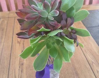 DIY Long lasting red succulent wedding flowers