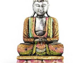 Handmade Large Wooden Sitting Buddha Metallic Ornament Sculpture