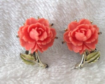 Faux coral clip earrings