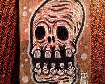 Skull Monster ACEO Original Drawing, Miniature Gothic Surreal Horror creature collectible trading card size art by TM