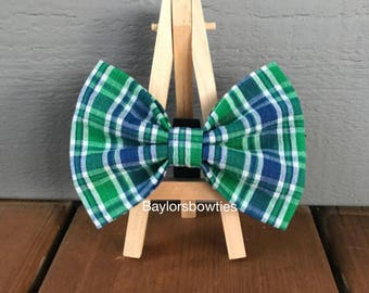 Green and Blue Plaid Dog Bow Tie