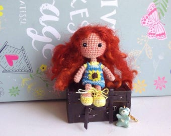 Summer sunny amigurumi doll, miniature crocheted girl, little red haired doll