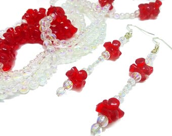 Red bead necklace // Iridescent Jewelry Set // Handmade jewellery set // Layer necklace // Dangle red earrings // Fashion necklace