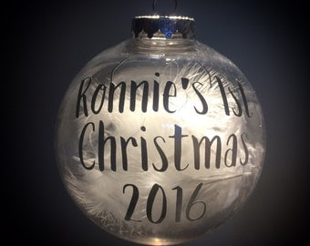 Personalised, feather filled bauble. Baby's 1st Christmas hanging keepsake / decoration 10cm