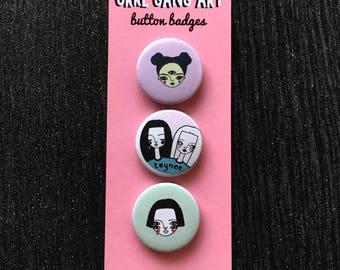Girl gang button badge set illustration