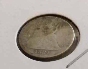 1884 Seated Liberty  dime , old US  coin  #M156
