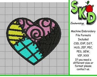 Sally Stitches Patchwork Heart - Full Stitch Machine Embroidery Design - Nightmare Before Christmas Love