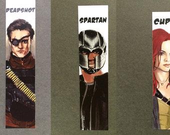 Deadshot , Spartan ( John Diggle) Cupid (Arrow) Artwork fanart (BOOKMARK marque page)