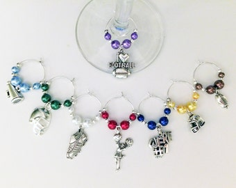 Football Wine Charm Set of 8