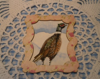 Miniature water colour painting of a pheasant