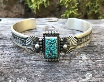 Single Rectangular Turquoise Stone Cuff Bracelet