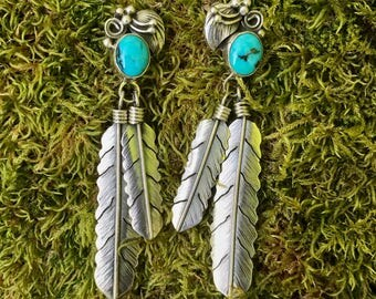 Turquoise Earrings with Dangling Feather Detail