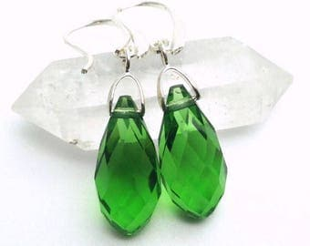 Sterling Silver Earrings, Green Crystal Briolette Earrings, teardrop earrings, dangle earrings. March and May birthstone