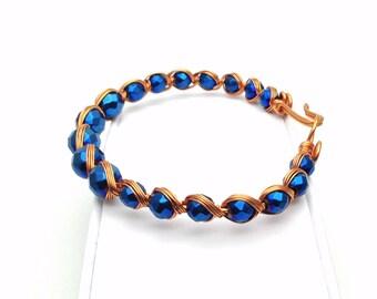 Handmade Blue Hematite Wire Wrapped Bracelet / Wire Wrap Bracelet / Wire Bracelet / Bangle Bracelet / December birthstone