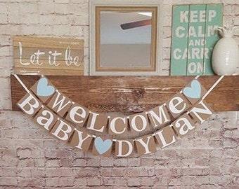Welcome Baby Boy Banner- Custom Name Banner- Baby Boy Banner- New Baby Banner- It's a Boy Banner- New Baby Sign -Welcome Baby Sign