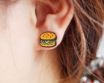 Burger Cartoon Stud Earrings