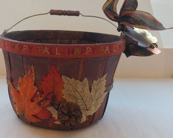 "Large Wooden Basket ""HAPPY FALL"" Gift Basket Centerpiece Planter"
