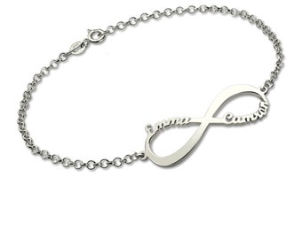 Personalized Infinity Name Bracelet Sterling Silver Customized Name Bracelet