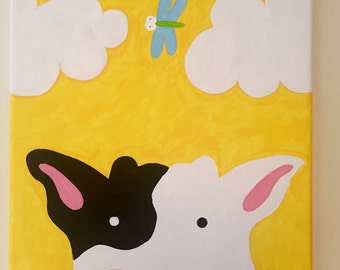 Cow and Dragonfly Canvas Painting