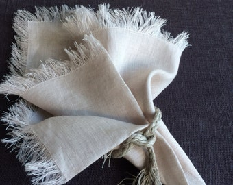 Beige Light Gray Linen Napkins with Fringes, Vintage Style Dinner Napkins, A Set of Linen Napkins