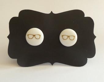 Glasses Perler Bead Stud Earrings - Party Favors, Nerdy, Kids Birthday, Custom Design - Lightweight - Round