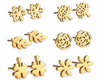 6 Pairs  18K Gold Earrings made with Stainless Steel