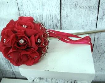 Hot pink pomander, Princess flower girl scepter wedding decoration, Flower girl bouquet, Silk wedding flowers, Ceremony decor, Pink pomander