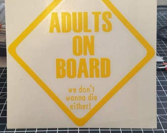 Adults on Board Vinyl Decal