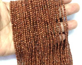 Red Sandstone Round Faceted Beads 2mm 3mm Faceted Red Gold sandstone Beads Small Red Beads Tiny Spacers Beads Small Gemstone Beads Supplies