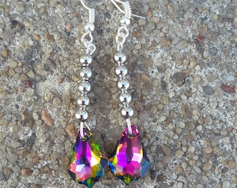 Rainbow Colored Swarovski Crystal and Silver Bead Dangle Fish Hook Earrings