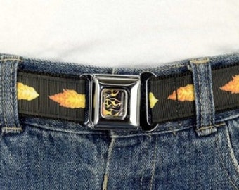 Kids Belt Press Belt Adjustable children's girls or boys belt in Black Flames