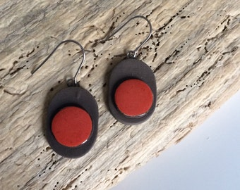 Earrings, red, geometric, ceramic oval