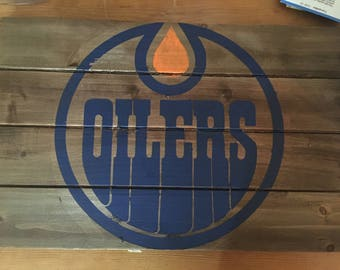 Edmonton Oilers Wood Sign