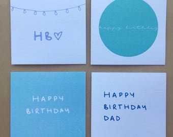 Happy Birthday Greeting Cards / Pack of 4 Blue Range