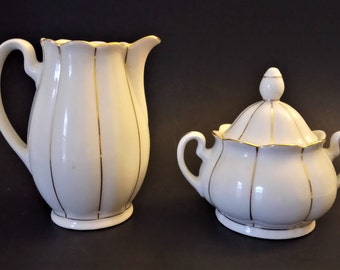 Vintage Kahla Creamer And Sugar Bowl Set German Porcelain White Gold Porcelain