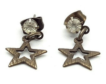 Miniature Star Silver Tone Drop Earrings Clear Rhinestone Vintage from the 90s Cute girl's gift Tiny Crystal glass Small