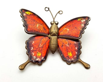 Colorful Red Butterfly Brooch Gold tone metal Vintage from the 90s Enamel Finish Gift for her, daughter, friend Flying Wings