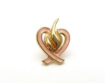 Miniature Pink Enamel Heart Pin Gold tone metal Vintage love valentines day anniversary gift tiny mini