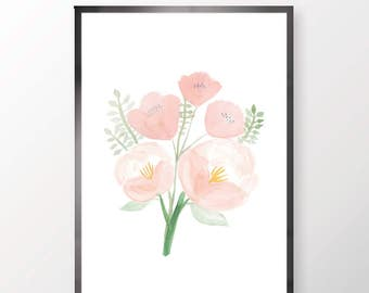 Peach Floral Print (Various Sizes)
