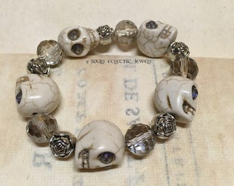 White Skull Rose and Crystal Bracelet Day of the Dead Dia De Los Muertos Punk Goth Halloween Howlite Grunge Spooky Unique Quirky
