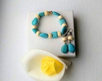 Turquoise  bead bone and antique brass elastic boho chic  bracelet and earrings