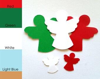 25 pack - Paper Christmas Angel, Angel Paper Cut Out, Paper Angel Die Cut, Holiday Paper Shapes, Christmas Die Cut