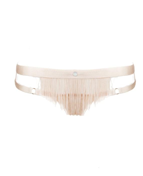 Handmade Silk-Frindge Adjustable Crystal Embellished Bondage Knickers/Brief, Made-to-Order/Bespoke/Custom UK