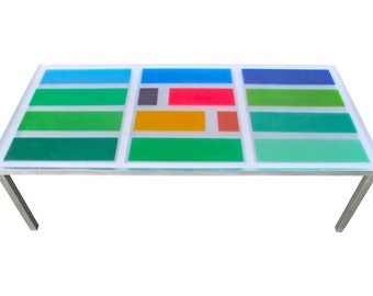 Modern Industrial Resin Dining Table - Contemporary Multi Color Large Table - Custom Dining Table