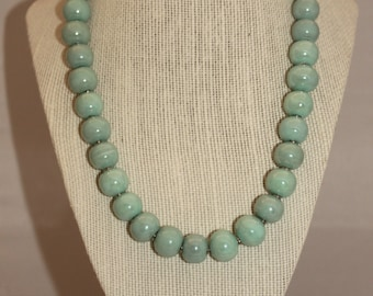 Light Teal Green Ceramic Beaded Necklace
