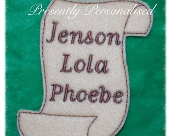 Naughty Elf sized Embroidered Naughty or Nice list/scroll, any names can be added (upto 4) Elf antics xmas 2016