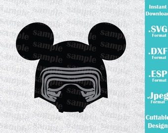 INSTANT DOWNLOAD SVG Star Wars Disney Inspired Kylo Ren Mickey Ears for Cutting Machines Svg, Esp, Dxf and Jpeg Format Cricut Silhouette