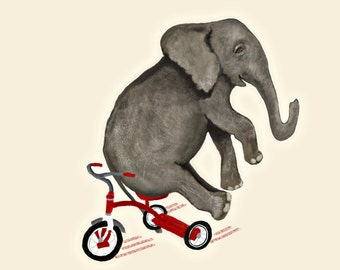 Baby elephant, nursery art, kids room, wall art kids, tricycle, gray, red, whimsical art